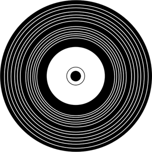 Vector drawing of vinyl record in black and white