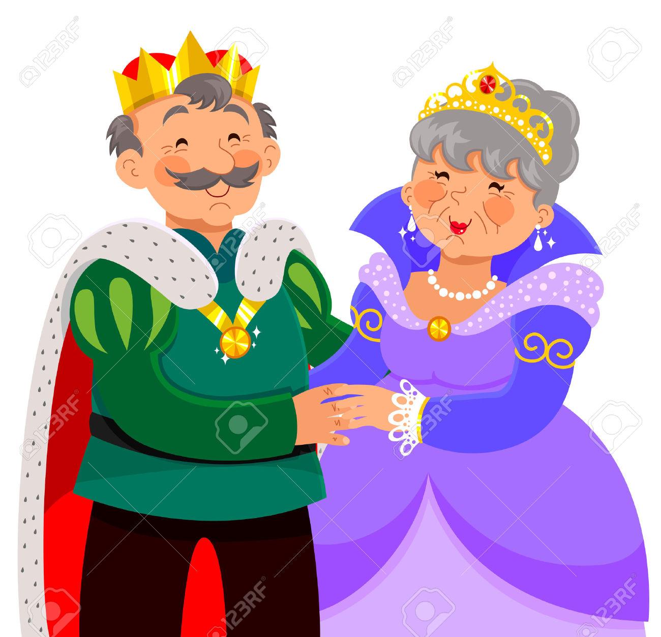 Vector - Elderly King And Queen Hugging -Vector - elderly king and queen hugging happily-19