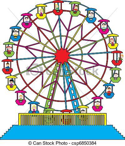 ... vector ferris wheel with happy children - vector... ...