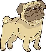 Vector Funny Cartoon Pug Stock Illustrat-Vector Funny Cartoon Pug Stock Illustration-11