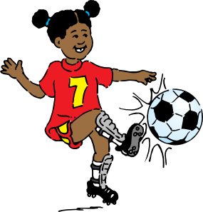 vector Girl Playing Soccer .