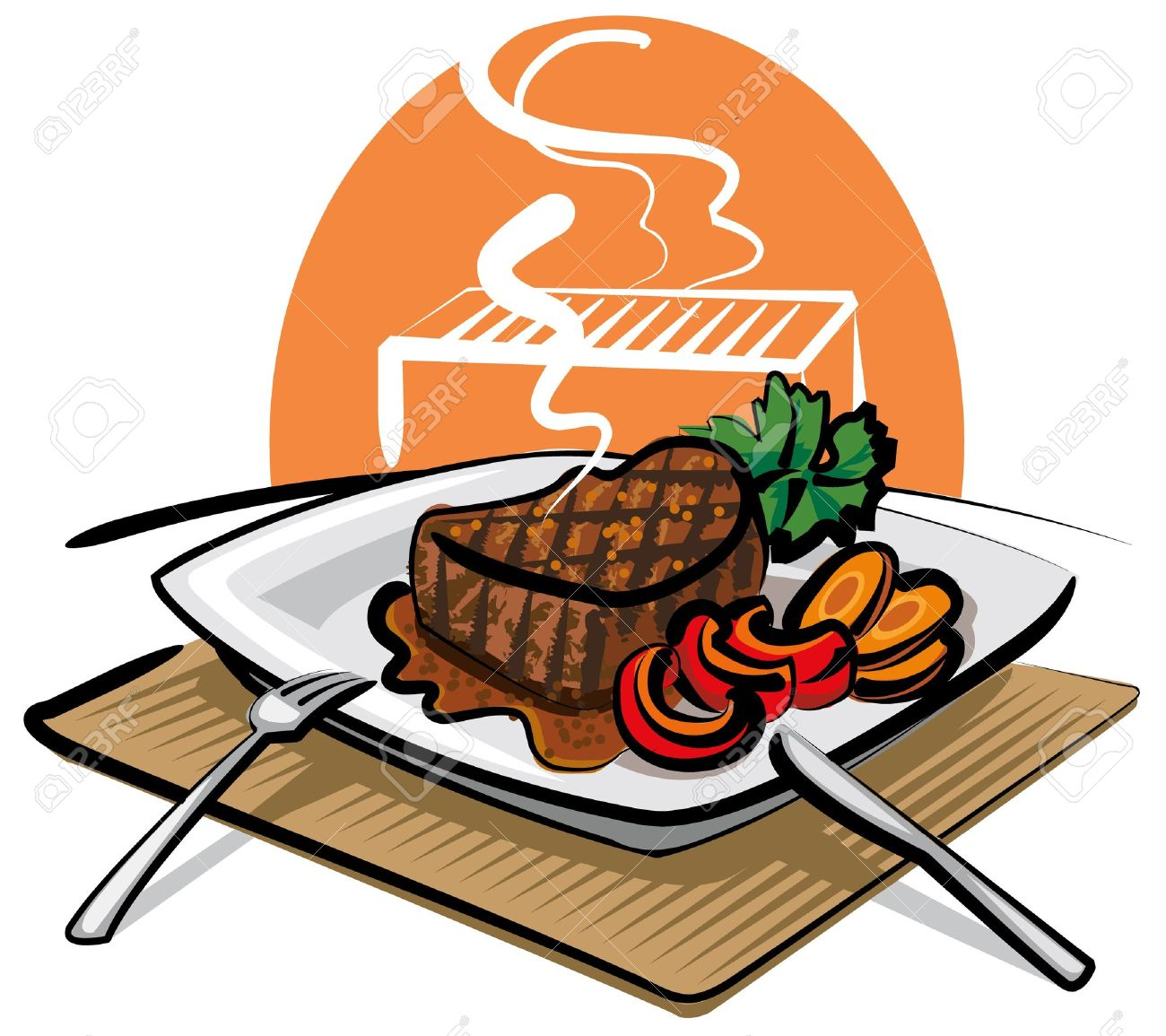 Vector - grilled beef steak - Clipart Steak