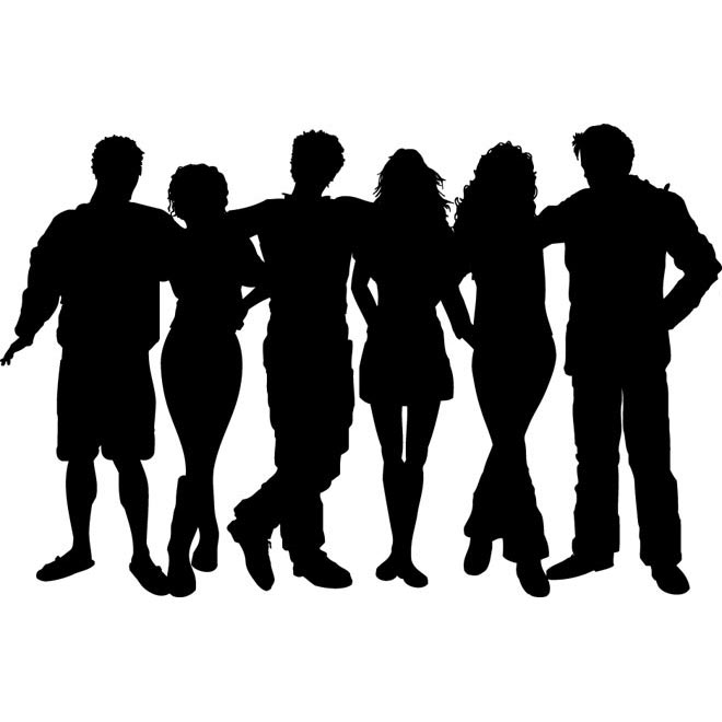 Vector Group Of People Clip Art Illustration Vector Silhouettes Group