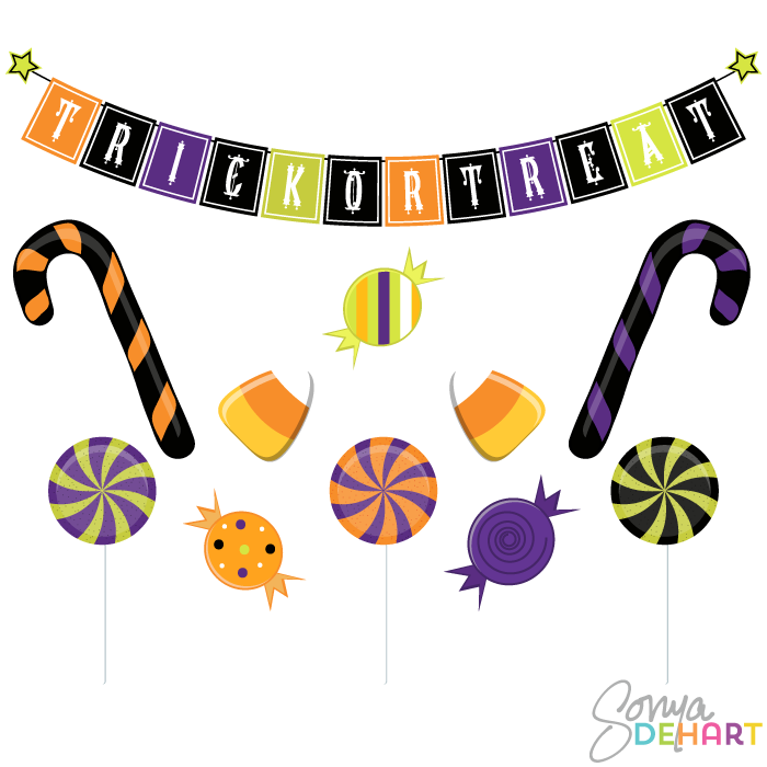 Vector Halloween Candy Clip Art Set