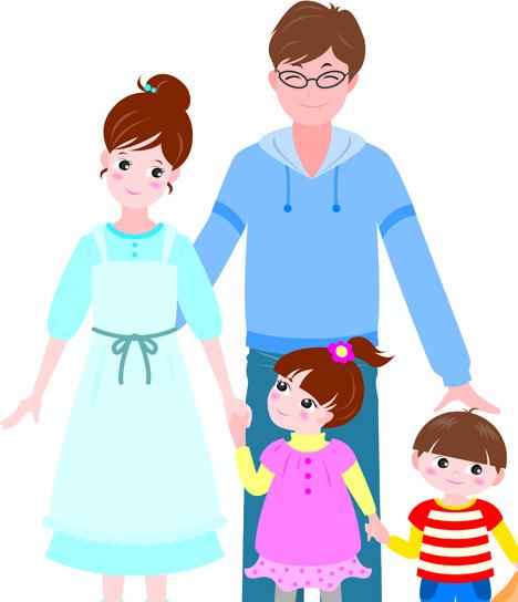 Vector Happy Family Together Design Elem-vector happy family together design elements-12