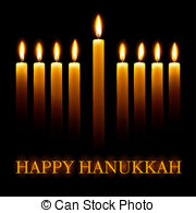 Vector Happy Hanukkah greeting card with.