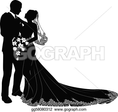 Vector Illustration - A bride and groom on their wedding day about to kiss in silhouette. Stock Clip Art gg58080312