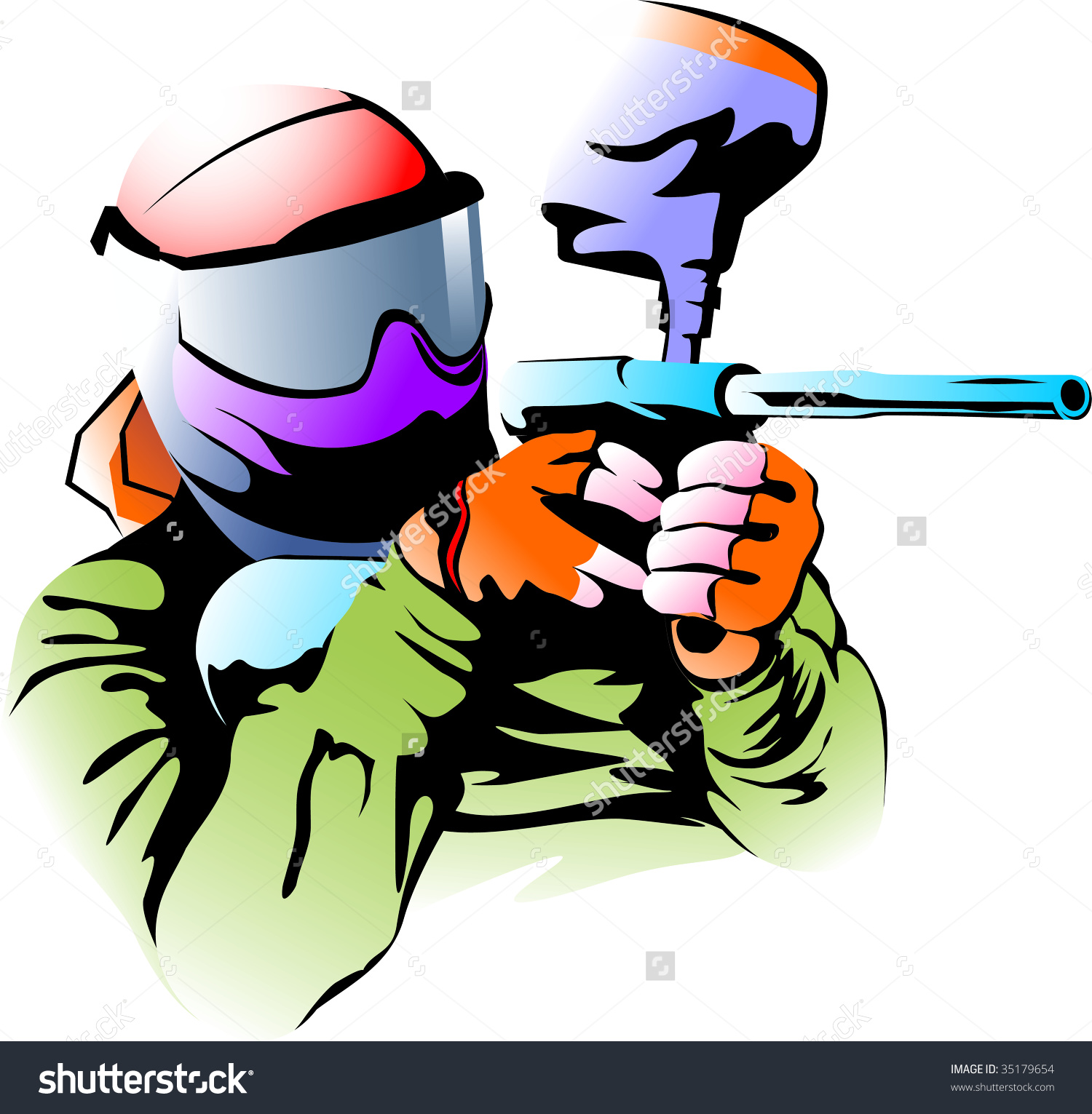 Vector illustration of a figure of the player in a paintball