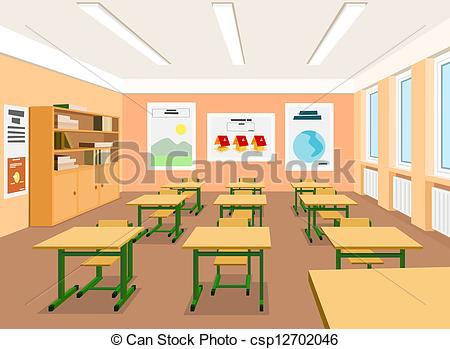 ... Vector illustration of an empty classroom - Vector.