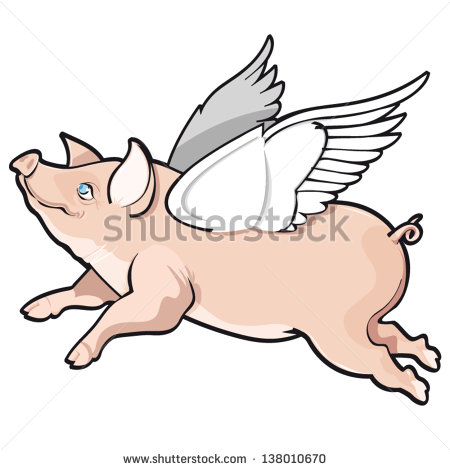 Vector illustration of flying - Flying Pig Clipart
