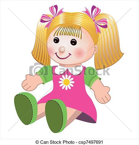 Vector illustration of girl doll - Blonde girl doll toy in.