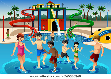 Vector Illustration Of Happy Kids Playing In A Waterpark Stock