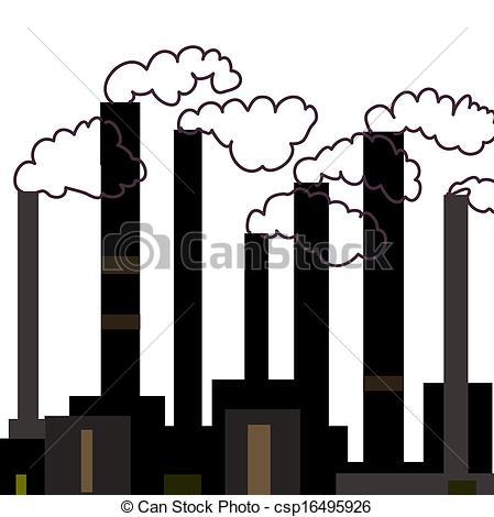 ... Vector illustration of industrial factories, grayscale.