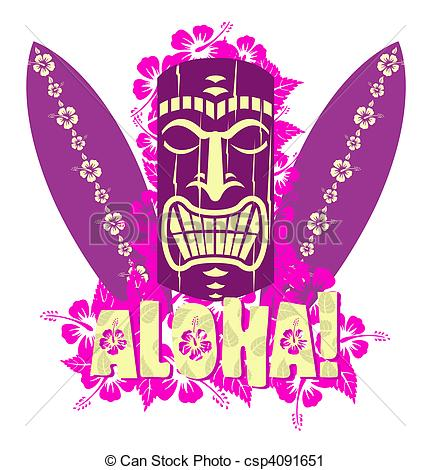 ... Vector illustration of tiki mask with surf boards, and hand... Vector illustration of tiki mask Clipartby ...