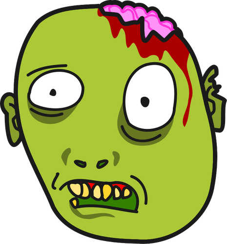 Vector image of zombie with bleeding brain