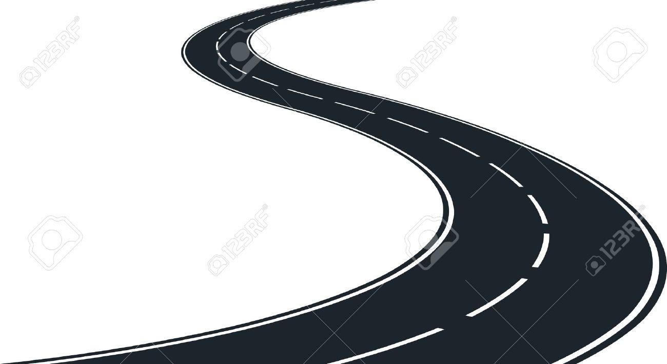 Vector - Isolated Winding Road - Clip Ar-Vector - isolated winding road - clip art illustration-7