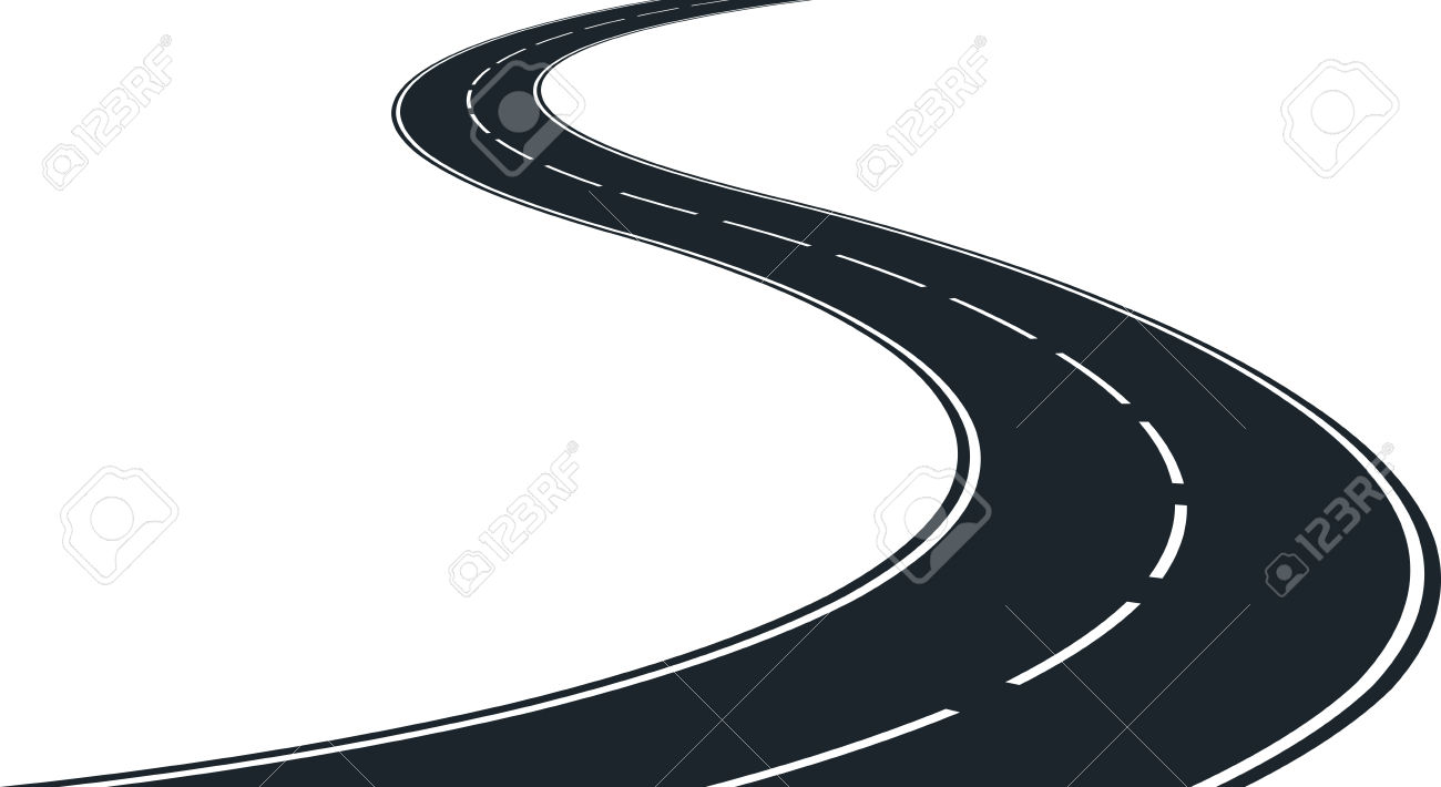 Vector - Isolated Winding Road - Clip Ar-Vector - isolated winding road - clip art illustration-7