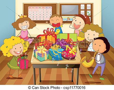 Vector - kids in classroom - Classroomclipart