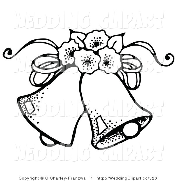 Vector Marriage Clipart Of Black And Whi-Vector Marriage Clipart Of Black And White Wedding Bells With Flowers-12