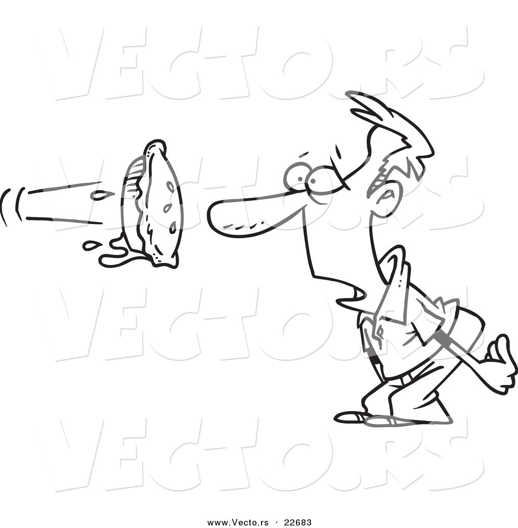 Vector Of A Cartoon Pie Flying At A Manu-Vector of a Cartoon Pie Flying at a Manu0026#39;s Face - Coloring Page Outline-18