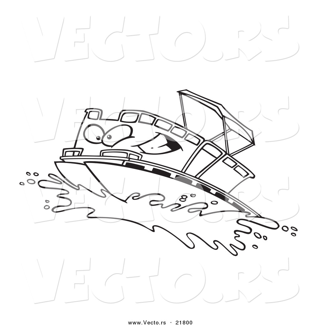 Vector Of A Cartoon Pontoon Boat Charact-Vector of a Cartoon Pontoon Boat Character - Outlined Coloring Page-19