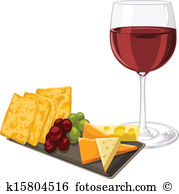 Vector Of Red Wine With Cheese, Cookie A-Vector of red wine with cheese, cookie and grapes.-5