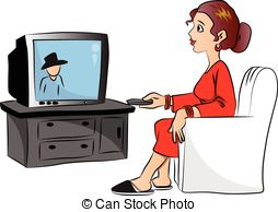 ... Vector of woman watching television. - Vector illustration.