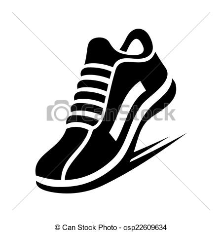 Vector - Running Shoe Icon on White.