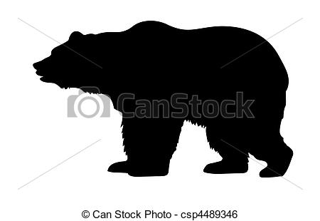 vector silhouette bear isolated on white background