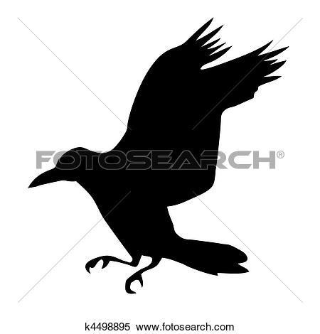 vector silhouette ravens on white background