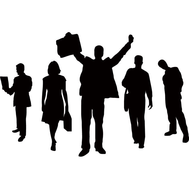 Vector Silhouettes Happy Business People Illustration Vector Business