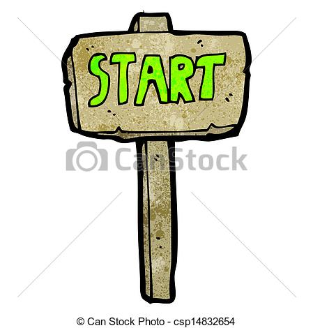 Vector - start sign cartoon - Start Clip Art