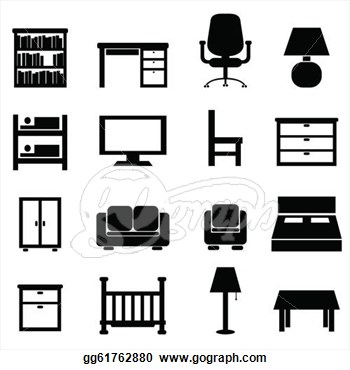 Vector Stock House And Office Furniture Icon Set Stock Clip Art