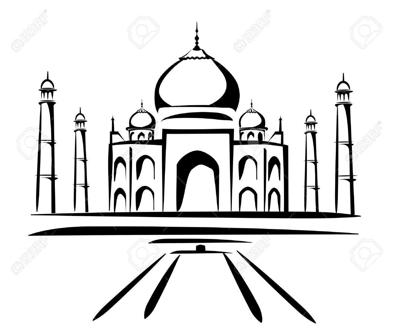 Vector - taj mahal vector . - Taj Mahal Clipart