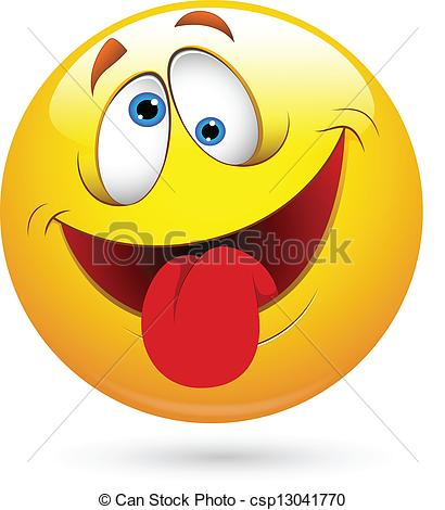 Vector Tongue Out Funny Smiley Face Vector Stock Illustration