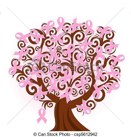 Vector Vector Illustration Of A Breast C-Vector Vector Illustration Of A Breast Cancer Pink Ribbon Tree-15