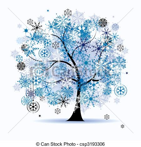 Vector - Winter Tree, Snowflakes. Christ-Vector - Winter tree, snowflakes. Christmas holiday.-11