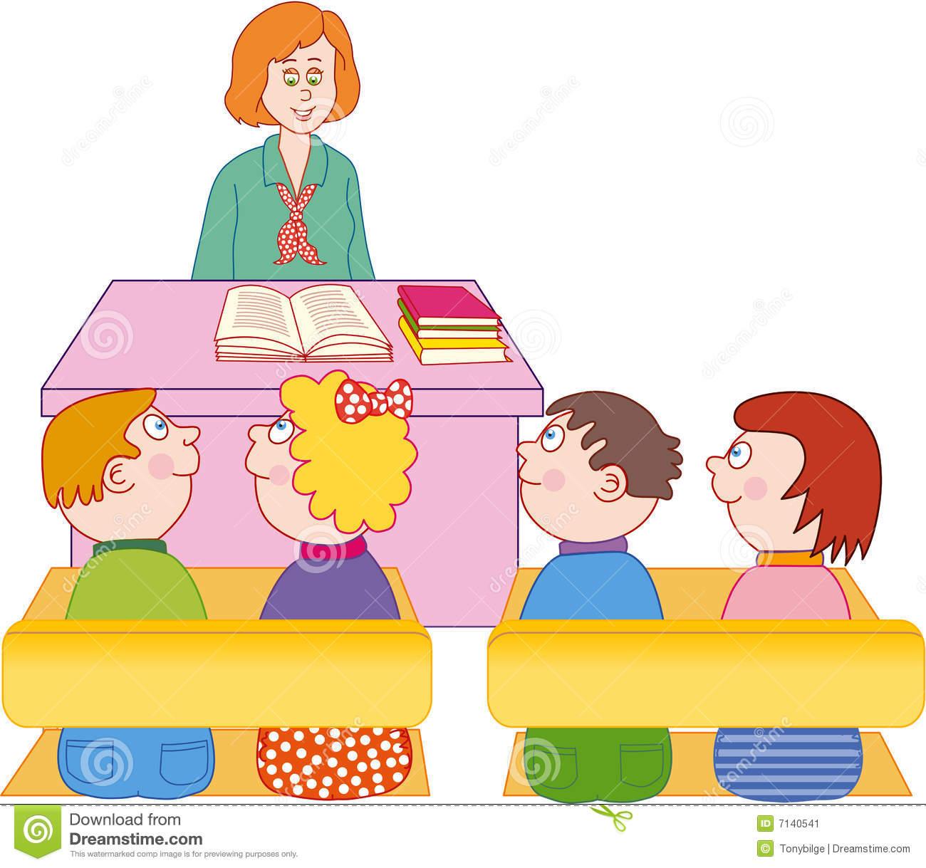 Vectorial Illustration Female Teacher Teaching Students In The