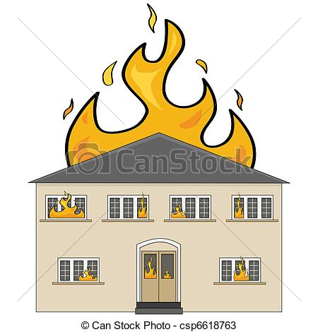 Vectors Of House On Fire Cartoon Illustration Showing A Two Storey