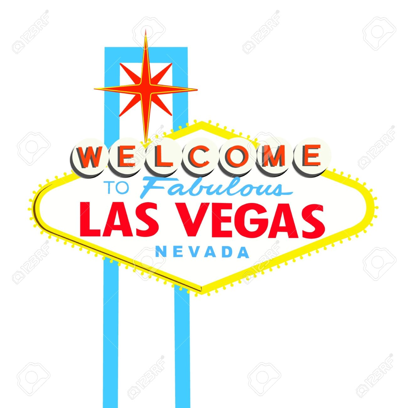 vegas sign: Welcome to Las Vegas Sign on White background