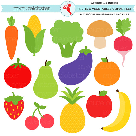 Fruits U0026 Vegetables Clipart Set - Cl-Fruits u0026 Vegetables Clipart Set - clip art set of pineapple, banana,  carrot, broccoli - personal use, small commercial use, instant download-8