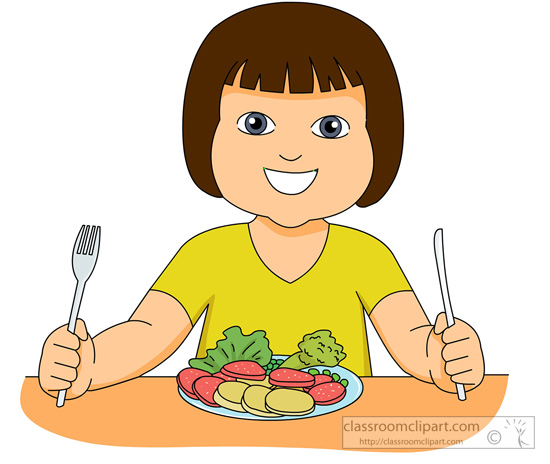 Vegetable Clipart Girl Eating Salad 831 Classroom Clipart