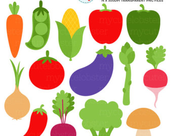 Vegetables Clipart Set - clip art set of sweetcorn, carrot, peas, radish,