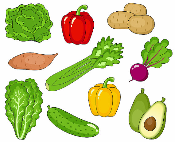 Vegetables Clip Art, Cute Veggies Clipart, Digital Clip Art, Avocado, Potato, Pepper, Beet, Cucumber - Instant Download - YDC019