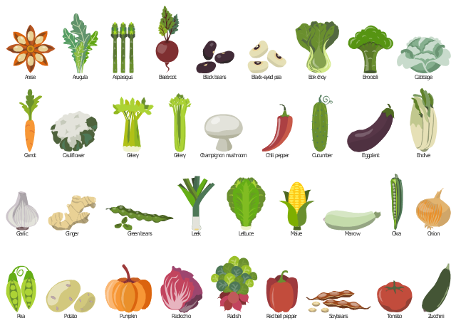 Vegetables clipart, zucchini, courgette, tomato, soybeans, soya beans, red pepper