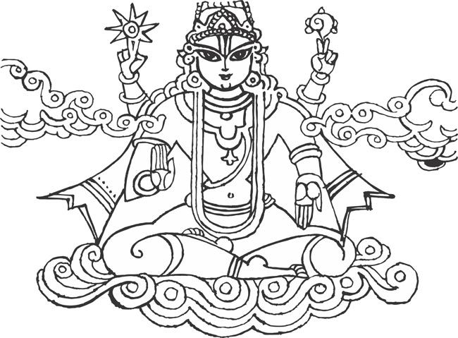 Indian hindu god vishnu narayana venkateswara thanjavur arts vector cliparts