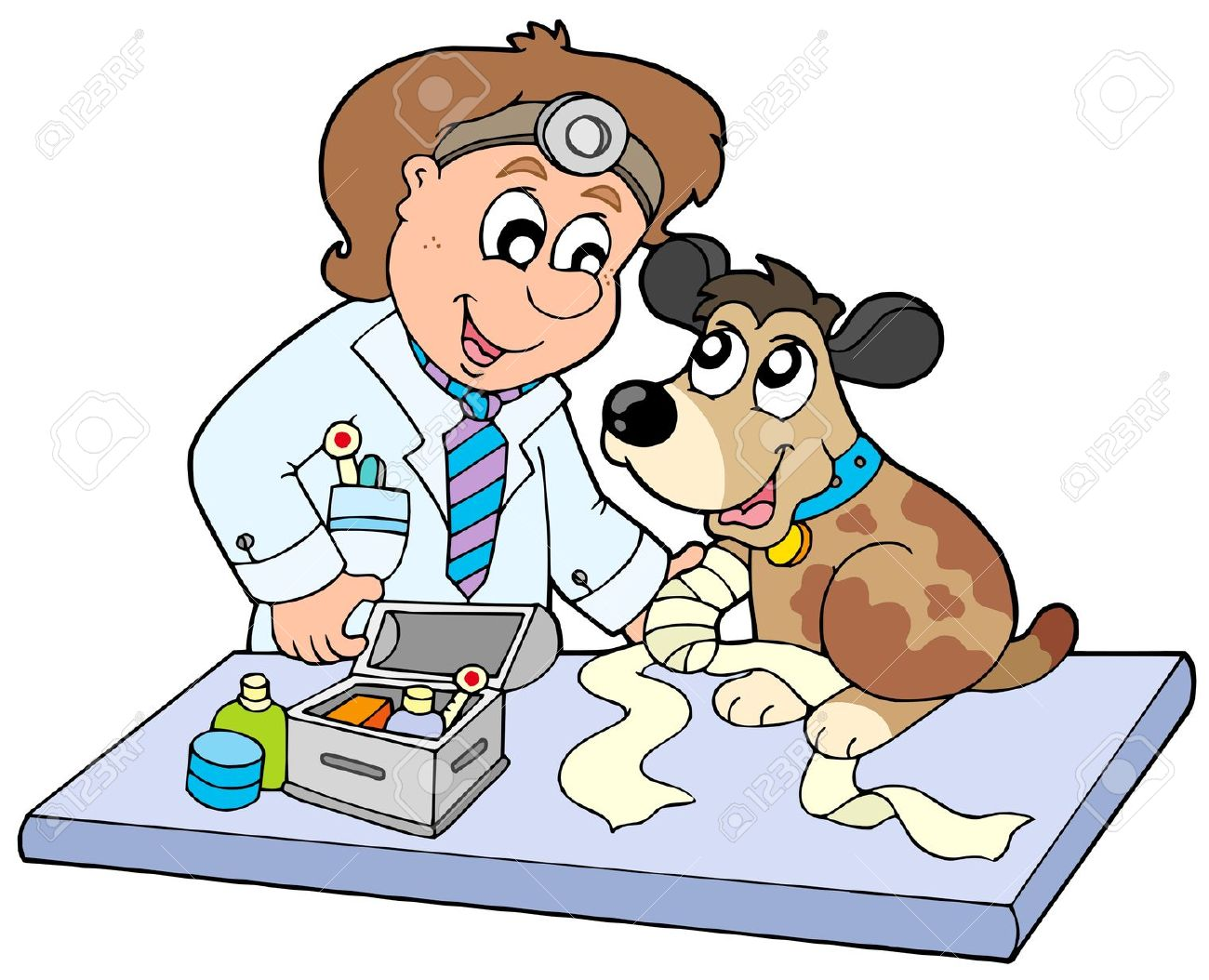 Veterinarian Clipart Fort. 6370096 Dog w-Veterinarian Clipart Fort. 6370096 Dog with sick paw at .-10