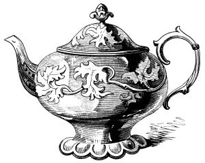 Victorian tea pot illustration, vintage teapot clipart, black and white graphics, free kitchen