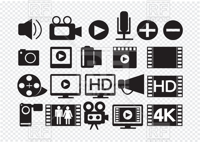 Video And Movie Multimedia Icons, 136148-Video and movie multimedia Icons, 136148, download royalty-free vector  vector image ClipartLook.com -15