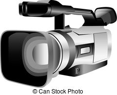 Illustrated video camera isolated against a white.